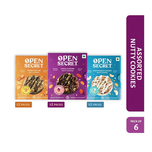 The Nestery : Open Secret - Snack Combo - Multi Flavour Nutty Cookies (Pack Of 6)