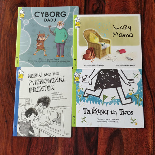 Description: STEM Senior combo is a set of 4 books for older readers/listeners with basic STEM concepts  Age Description: Level-3,4 (7-11 years)  Contains: 1. Lazy Mama 2. Cyborg Dadu 3. Neelu and the phenomenal printer 4. Talking in twos