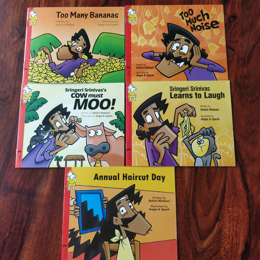 Description: Sringeri Srinivas combo is a set of 5 books apt for toddlers and kindergartners.  Age Description: Level-2 (3-7 years)  Contains: 1. Annual haircut day 2. Sringeri Srinivas learns to laugh 3. Too much noise 4. Sringeri Srinivas Cow must moo 5. Too many bananas