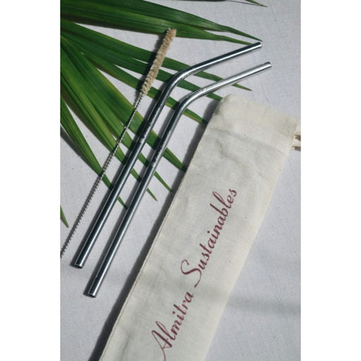 The Nestery :Almitra Sustainables - Stainless Steel Straw (Bent) Pack Of 2 With 1 Cleaner