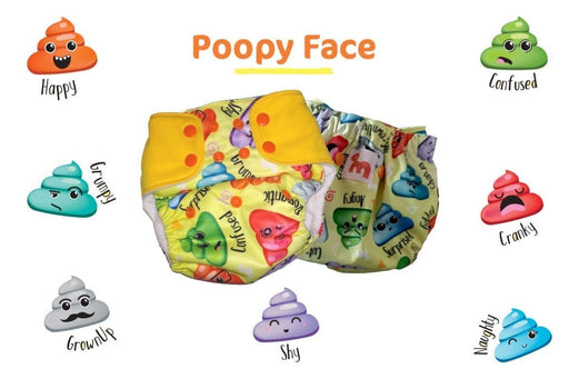 The Nestery: Supperbottoms - UNO ALL-IN-ONE REUSABLE CLOTH DIAPER WITH 2 ORGANIC COTTON DRY-FEEL SOAKERS [DAY & NIGHT USE] - POOPY FACE