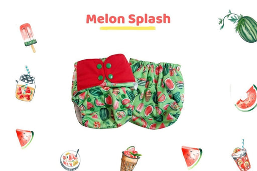 The Nestery: Supperbottoms - UNO ALL-IN-ONE REUSABLE CLOTH DIAPER WITH 2 ORGANIC COTTON DRY-FEEL SOAKERS [DAY & NIGHT USE] - MELON SPLASH