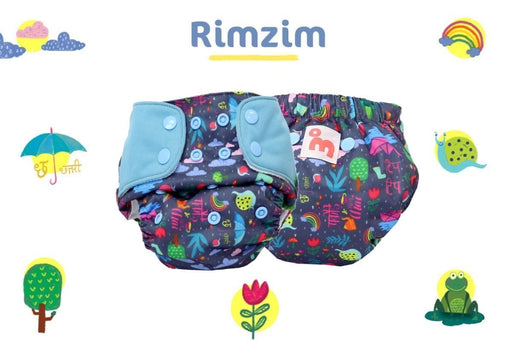 The Nestery: Supperbottoms - UNO ALL-IN-ONE REUSABLE CLOTH DIAPER WITH 2 ORGANIC COTTON DRY-FEEL SOAKERS [DAY & NIGHT USE] - RIMZIM