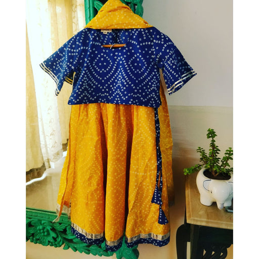 The Nestery : Ambar - Aaiza Lehenga Choli Set -Blue/Yellow