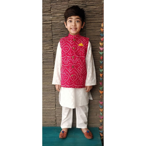 The Nestery : Ambar - Zach Kurta Pyjama + Nehru Jacket - Pink/White