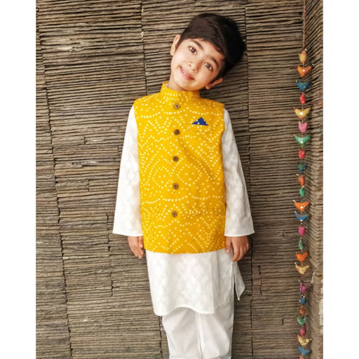 The Nestery : Ambar - Zach Kurta Pyjama + Nehru Jacket - Yellow/White