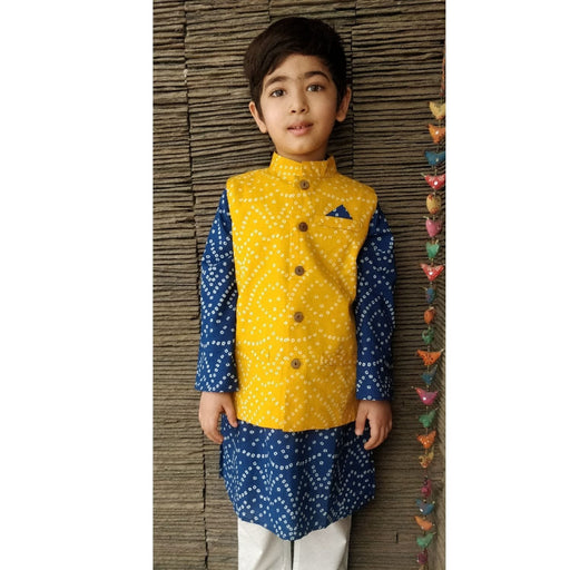 The Nestery : Ambar - Zarun Kurta Pyjama + Nehru Jacket - Blue/Yellow