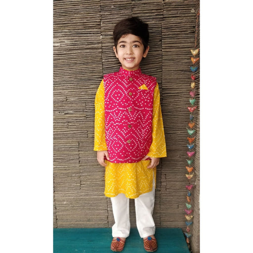The Nestery : Ambar - Zarun Kurta Pyjama + Nehru Jacket - Yellow/Pink