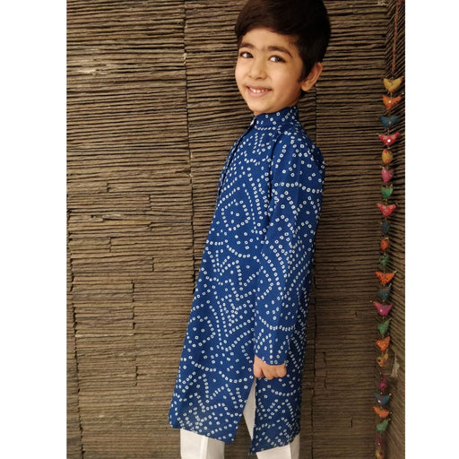 The Nestery : Ambar - Zayne Kurta Pyjama Set - Blue/White