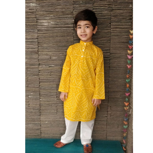 The Nestery : Ambar - Zayne Kurta Pyjama Set - Yellow/White