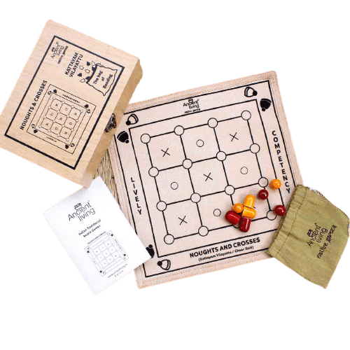 The Nestery : Ancient Living - Noughts And Crosses - Board Game (Raw Silk)