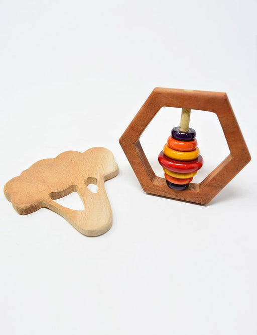 The Nestery: Montessori Toy - Ariro - Infant Gift Set - 1 (Teether, Rattle)
