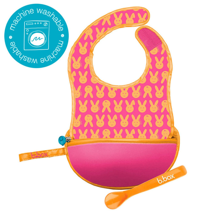The Nestery : b.box - Travel Bib & Flexible Soft Bite Spoon Set Hip Hop Pink Orange