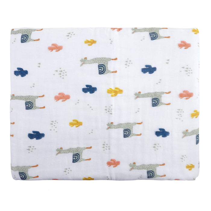 The Nestery : Baby Moo - Animal Print White And Grey - Muslin Blanket