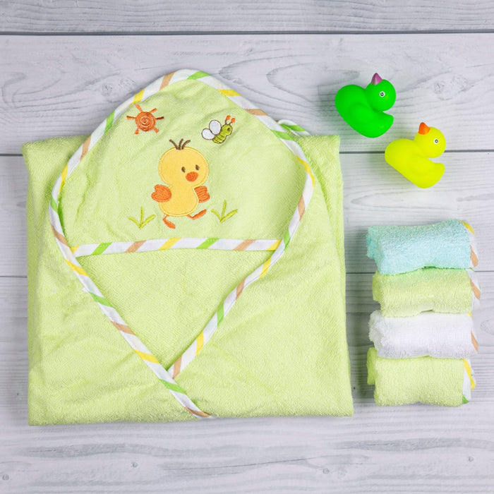 The Nestery : Baby Moo - Chick Green Applique - Hooded Towel & Wash Cloth Set