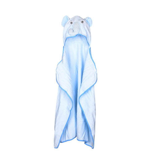 The Nestery : Baby Moo - Elephant Blue Animal Face - Hooded Towel