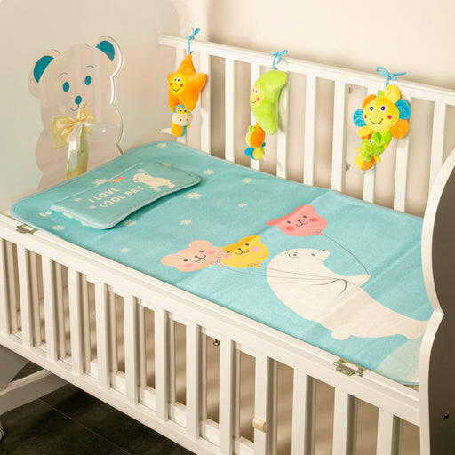 The Nestery : Baby Moo - I Love Cool Day Green - Washable Mat With Pillow