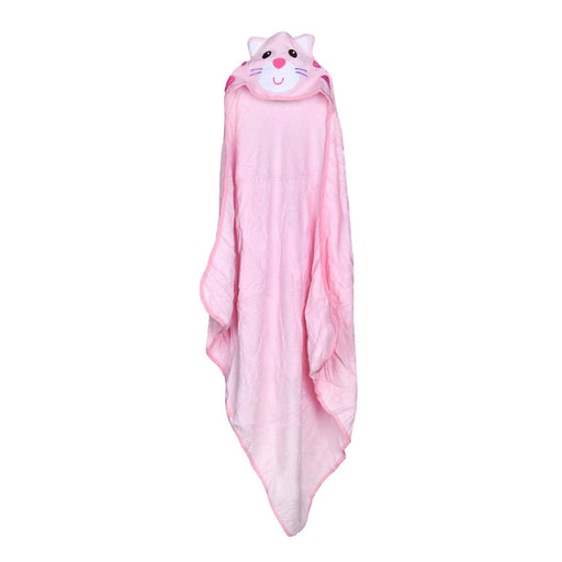 The Nestery : Baby Moo - Kitty Pink Animal - Hooded Towel