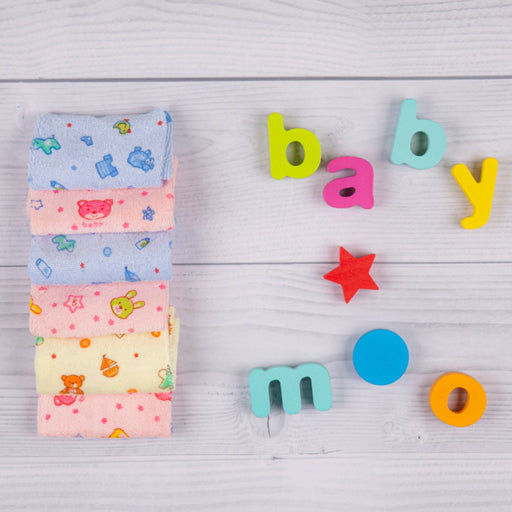 The Nestery : Baby Moo - Mixed Prints Multicolour 16X16 Cms - Wash Cloth (Pack Of 6)
