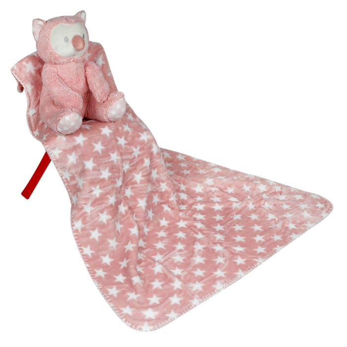 The Nestery : Baby Moo - Owl Pink Star - Toy Blanket