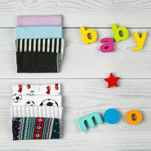 The Nestery : Baby Moo - Printed (2425) - Multicolour Wash Cloth (Pack Of 8)