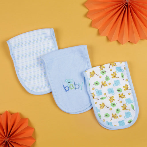 The Nestery : Baby Moo - Printed Blue - Burp Cloth (Pack Of 3)