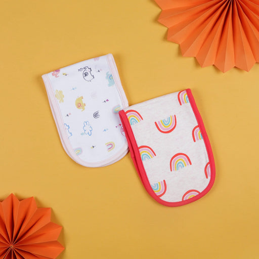 The Nestery : Baby Moo - Rainbow And Elephant Red And White - Burp Cloth (Pack Of 2)