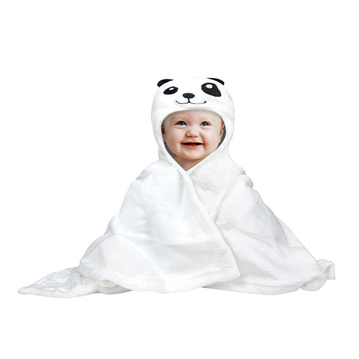 The Nestery : Baby Moo - Sleepy Panda White Animal - Hooded Towel