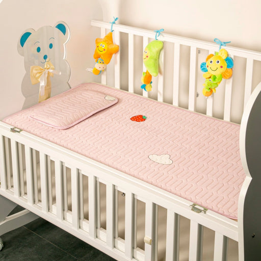The Nestery : Baby Moo - Strawberry In The Clouds Pink - Washable Mat With Pillow