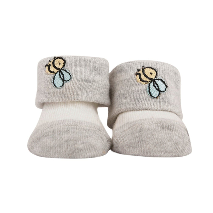 The Nestery : Baby Moo - Striped Grey - Socks (Pack Of 2)