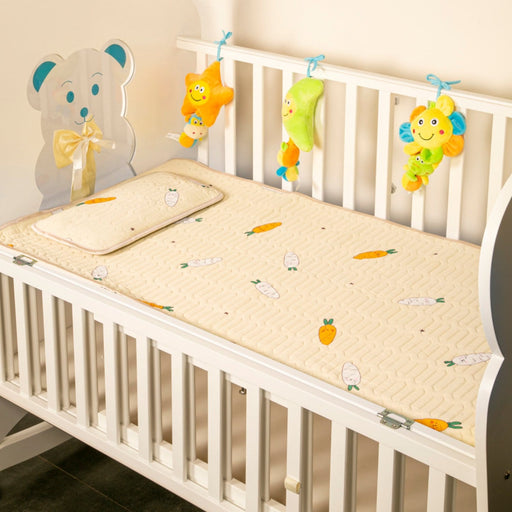 The Nestery : Baby Moo - Veggies Make You Strong Yellow - Washable Mat With Pillow