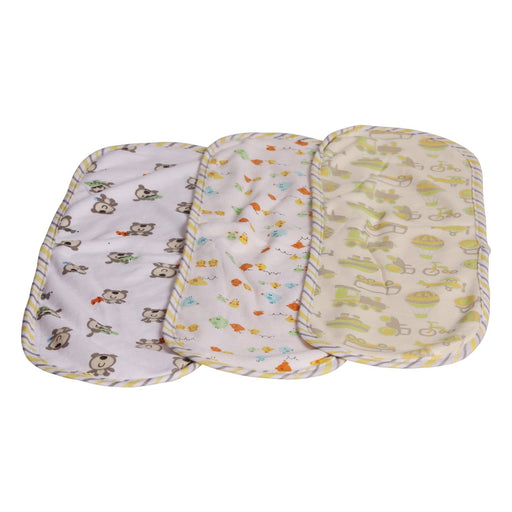 The Nestery : Baby Moo - Wanderlust Yellow - Burp Cloth (Pack Of 3)