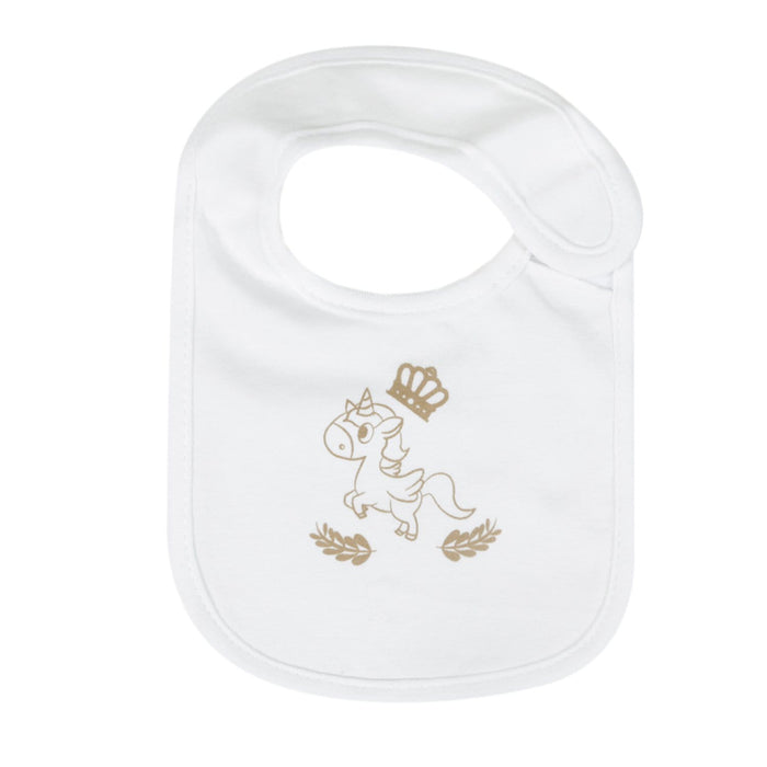 The Nestery : Baby Moo - Whimsical Unicorn White - Bibs (Pack Of 3)
