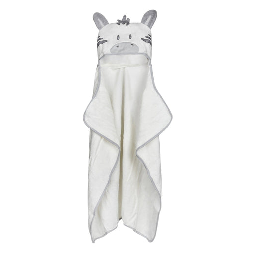 The Nestery : Baby Moo - White Animal Face - Hooded Towel