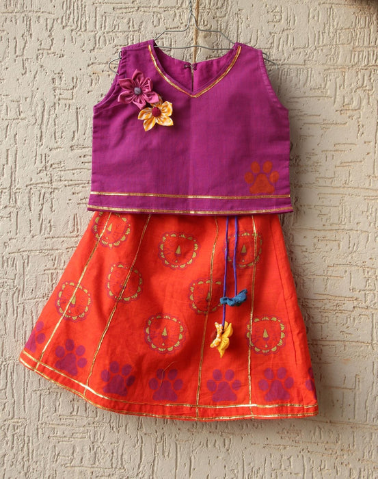 The Nestery: Bhutkun by nuaa - SHERU (TOP AND LEHENGA SET) - TANGERINE & AUBERGINE