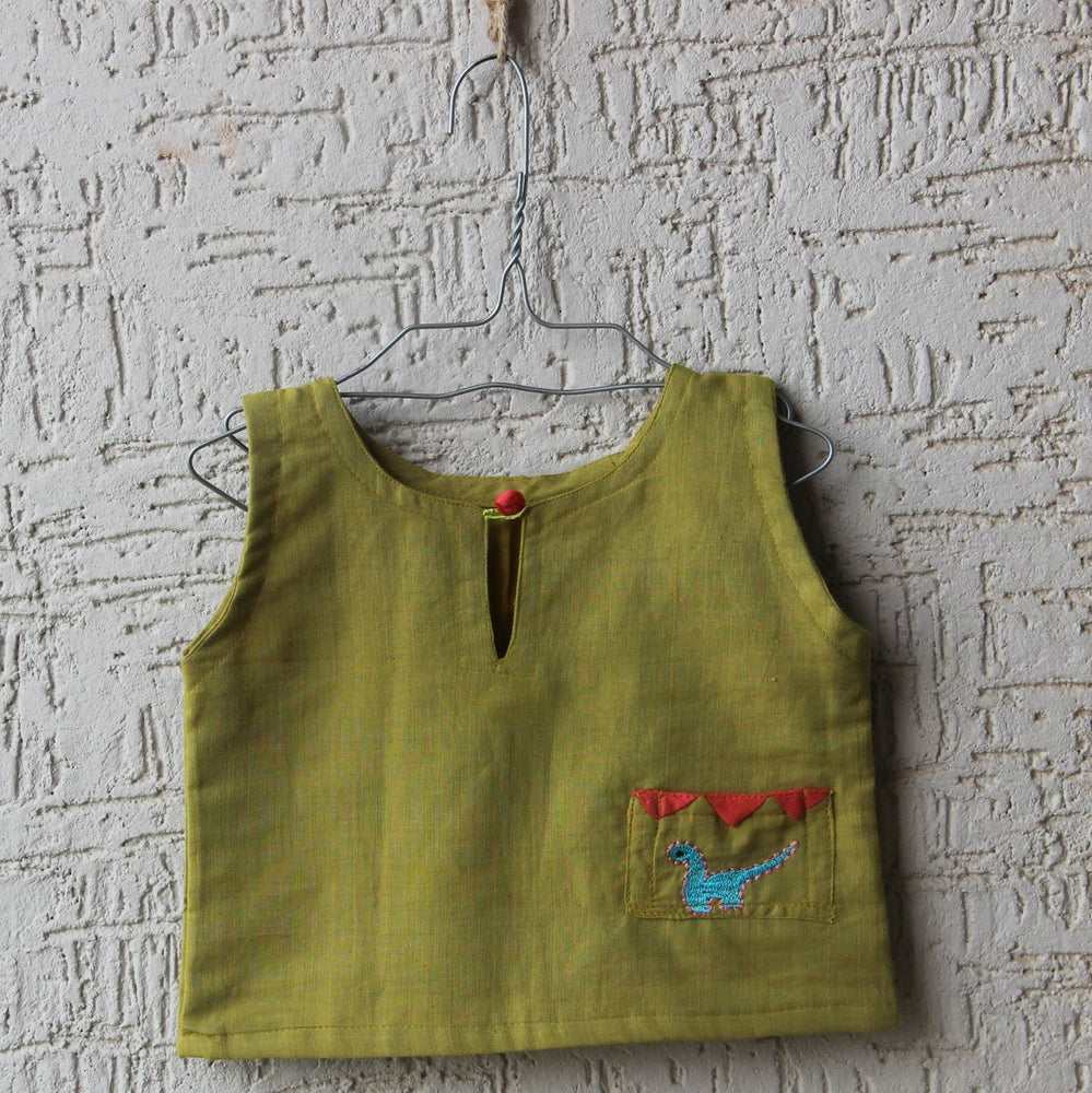 The Nestery: Bhutkun by nuaa - DINO DIDI - OLIVE GREEN TOP