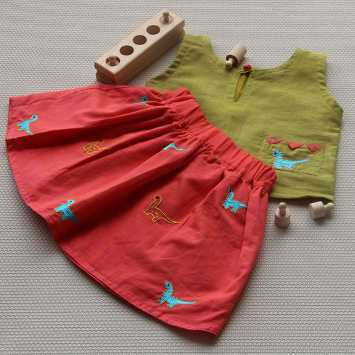 The Nestery: Bhutkun by nuaa - DINO DIDI - ORANGE SKIRT & OLIVE GREEN TOP SET