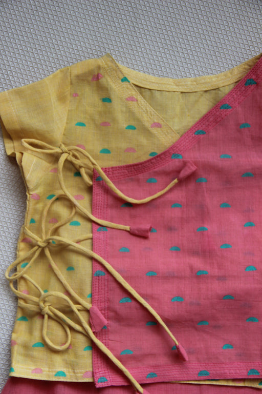 The Nestery: Bhutkun by nuaa - NEEMBU & GULAB - YELLOW & PINK ANGRAKHA TOP