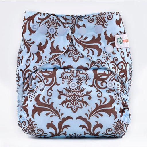 The Nestery: Bumberry - Diaper Cover - Blue Brown Royal + 1 Natural Bamboo Cotton Insert