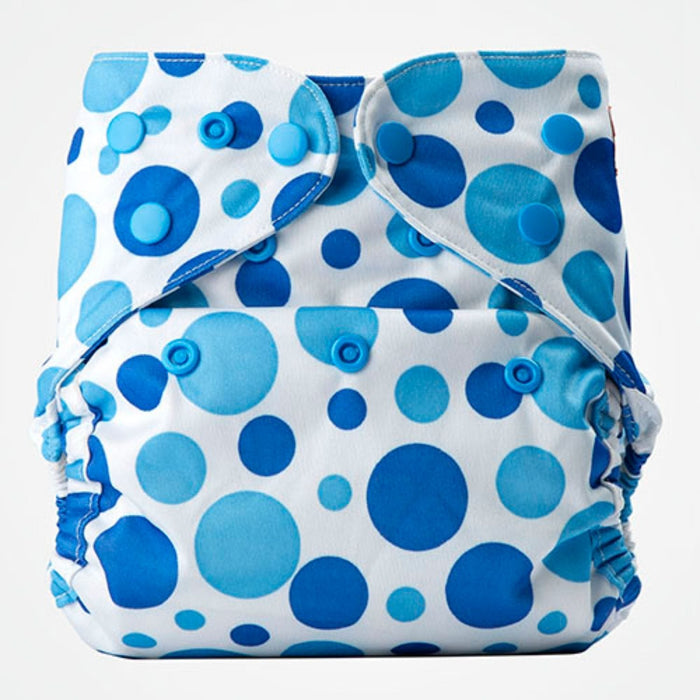 The Nestery: Bumberry - Diaper Cover - Blue Dots + 1 Natural Bamboo Cotton Insert