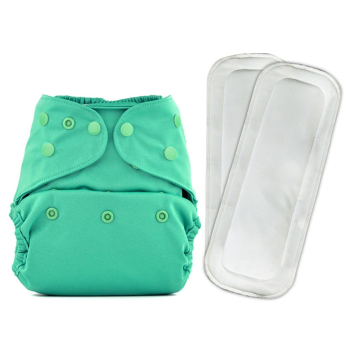 The Nestery: Bumberry - Diaper Cover - Blue Green + 2 Wet Free Inserts