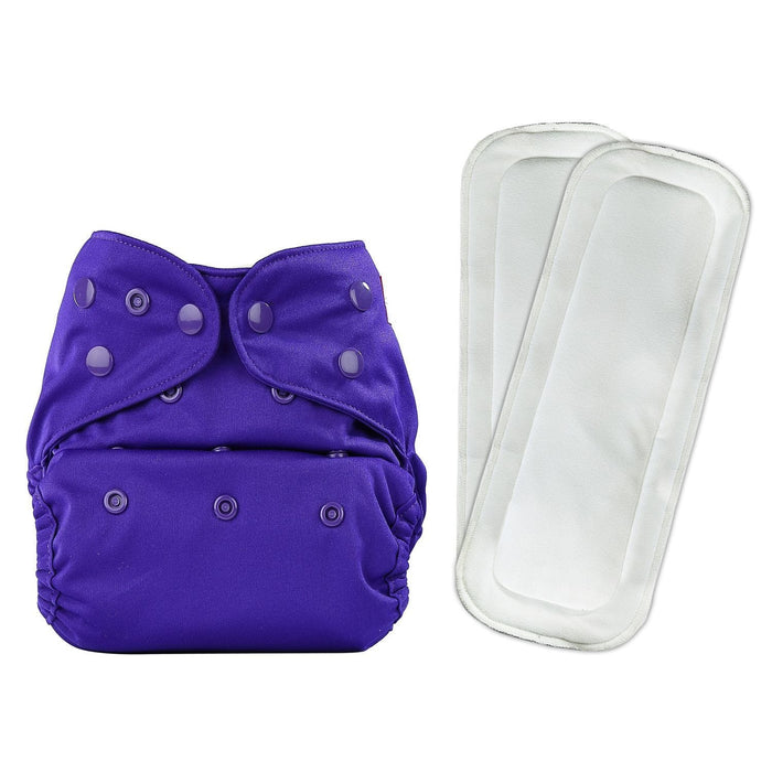 The Nestery: Bumberry - Diaper Cover - Purple + 2 Wet Free Inserts