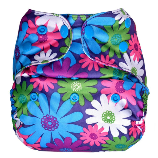 The Nestery: Bumberry - Diaper Cover - Purple Flowers + 2 Wet Free Inserts