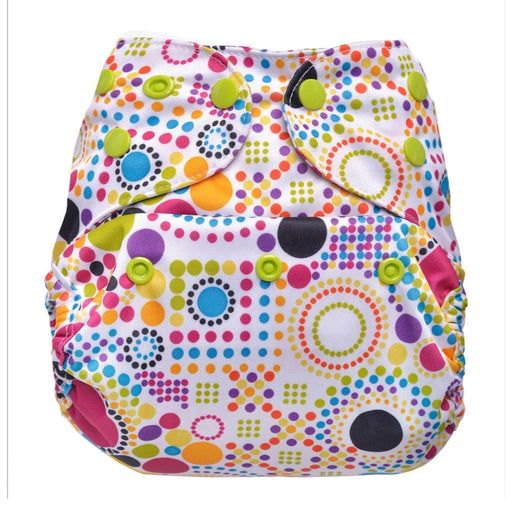 The Nestery: Bumberry - Diaper Cover - Retro Print + 1 Natural Bamboo Cotton Insert