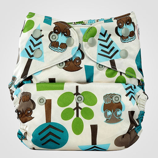 The Nestery: Bumberry - Diaper Cover - Trees + 1 Natural Bamboo Cotton Insert