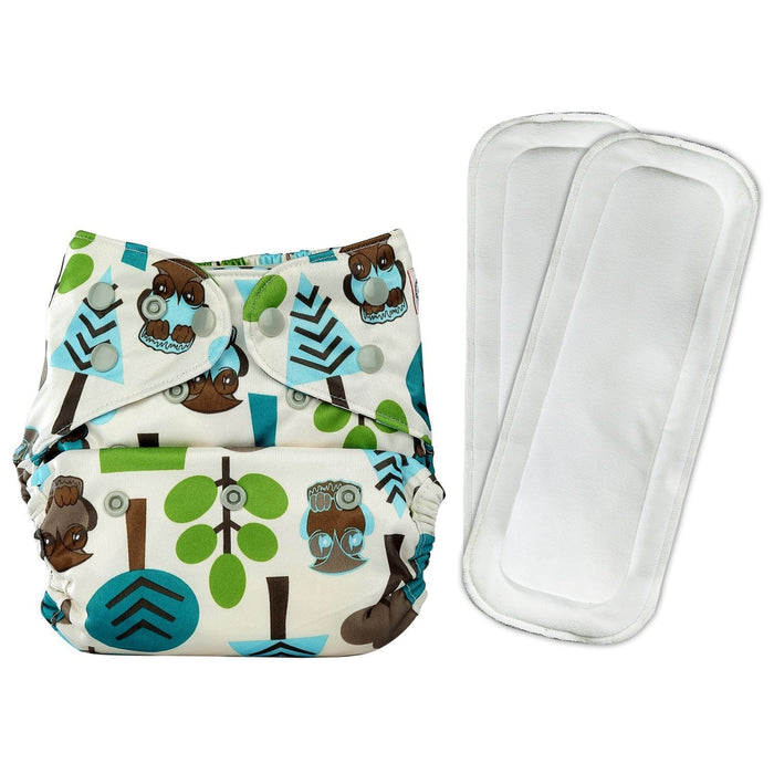 The Nestery: Bumberry - Diaper Cover - Trees + 2 Wet Free Inserts