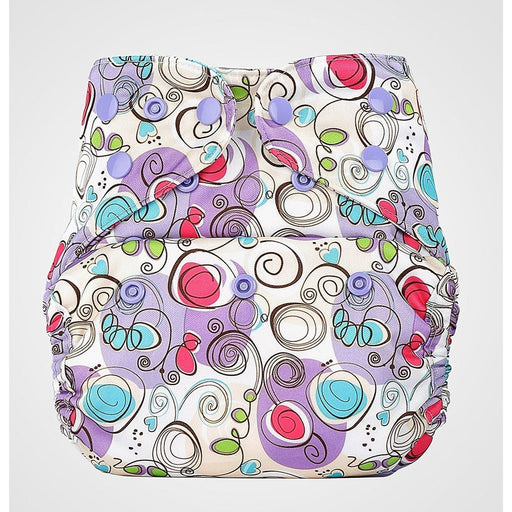 The Nestery: Bumberry - Diaper Cover - Violet Print + 1 Natural Bamboo Cotton Insert