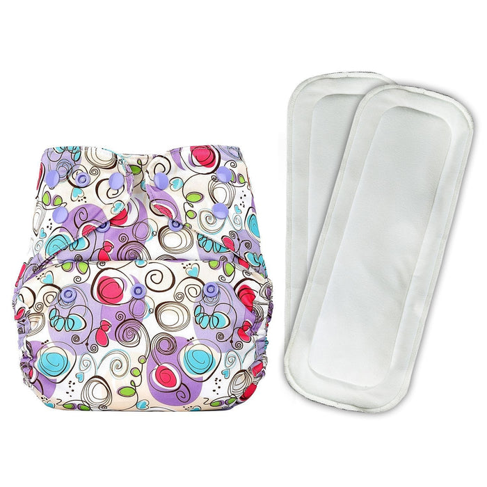 The Nestery: Bumberry - Diaper Cover - Violet Print + 2 Wet Free Inserts