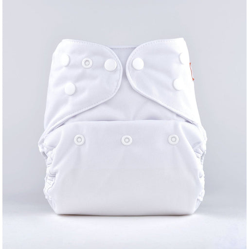 The Nestery: Bumberry - Diaper Cover - White + 1 Natural Bamboo Cotton Insert