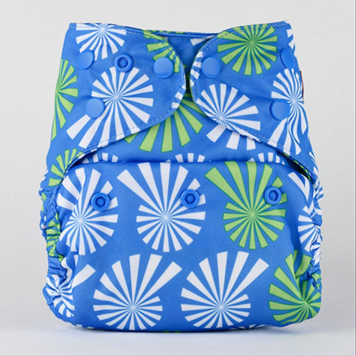 The Nestery: Bumberry - Diaper Cover - White Flowers On Blue + 1 Natural Bamboo Cotton Insert